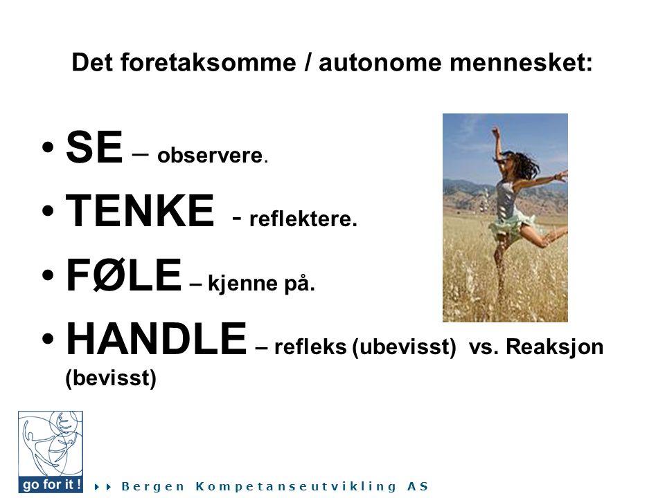  B e r g e n K o m p e t a n s e u t v i k l i n g A S Det foretaksomme / autonome mennesket: •SE – observere. •TENKE - reflektere. •FØLE – kjenne p