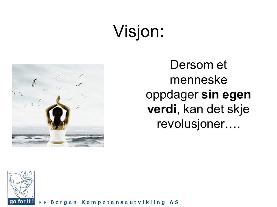  B e r g e n K o m p e t a n s e u t v i k l i n g A S Visjon: Dersom et menneske oppdager sin egen verdi, kan det skje revolusjoner….