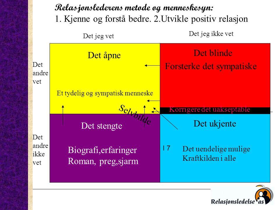 Relasjonslederens metode og menneskesyn: 1. Kjenne og forstå bedre. 2.Utvikle positiv relasjon Det åpne I 7 Det stengte Det ukjente Det andre vet Det