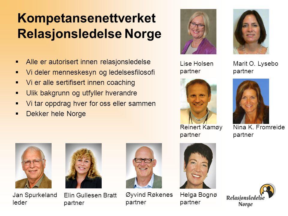Jan Spurkeland leder Øyvind Røkenes partner Elin Gullesen Bratt partner Helga Bognø partner Kompetansenettverket Relasjonsledelse Norge  Alle er auto