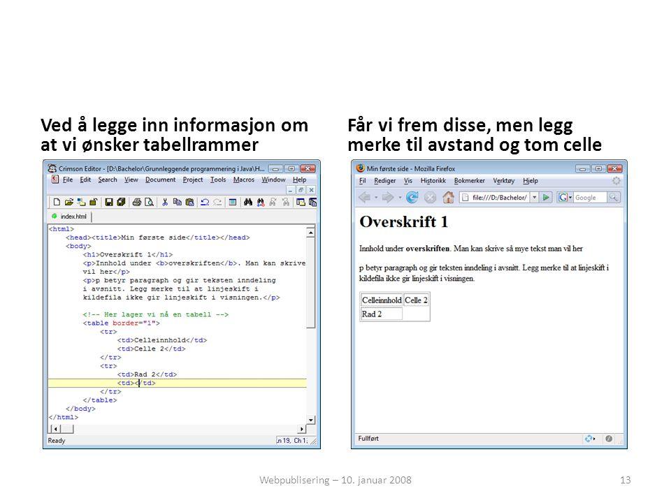 Ved å legge inn informasjon om at vi ønsker tabellrammer Får vi frem disse, men legg merke til avstand og tom celle Webpublisering – 10. januar 200813