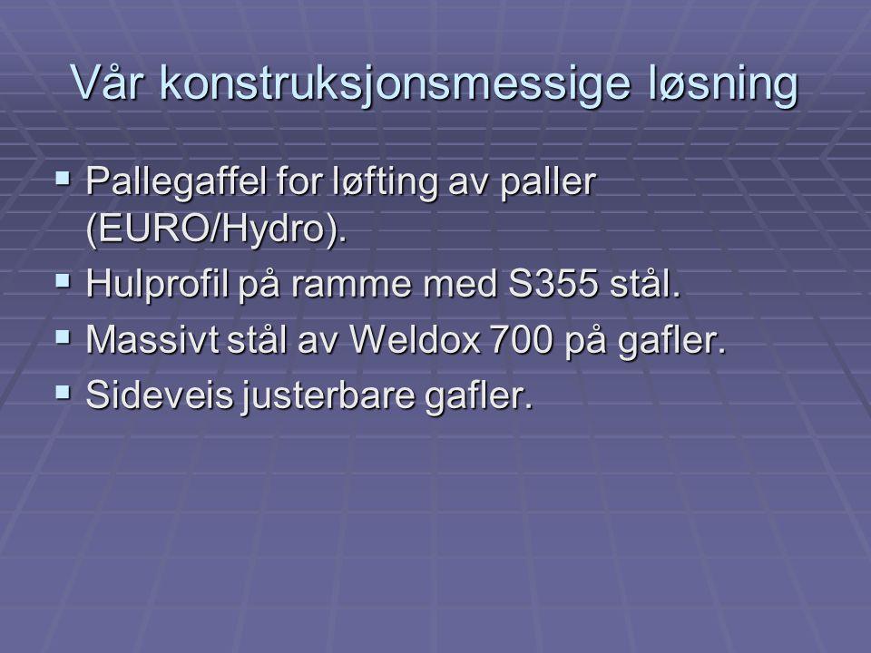 Vår konstruksjonsmessige løsning  Pallegaffel for løfting av paller (EURO/Hydro).  Hulprofil på ramme med S355 stål.  Massivt stål av Weldox 700 på