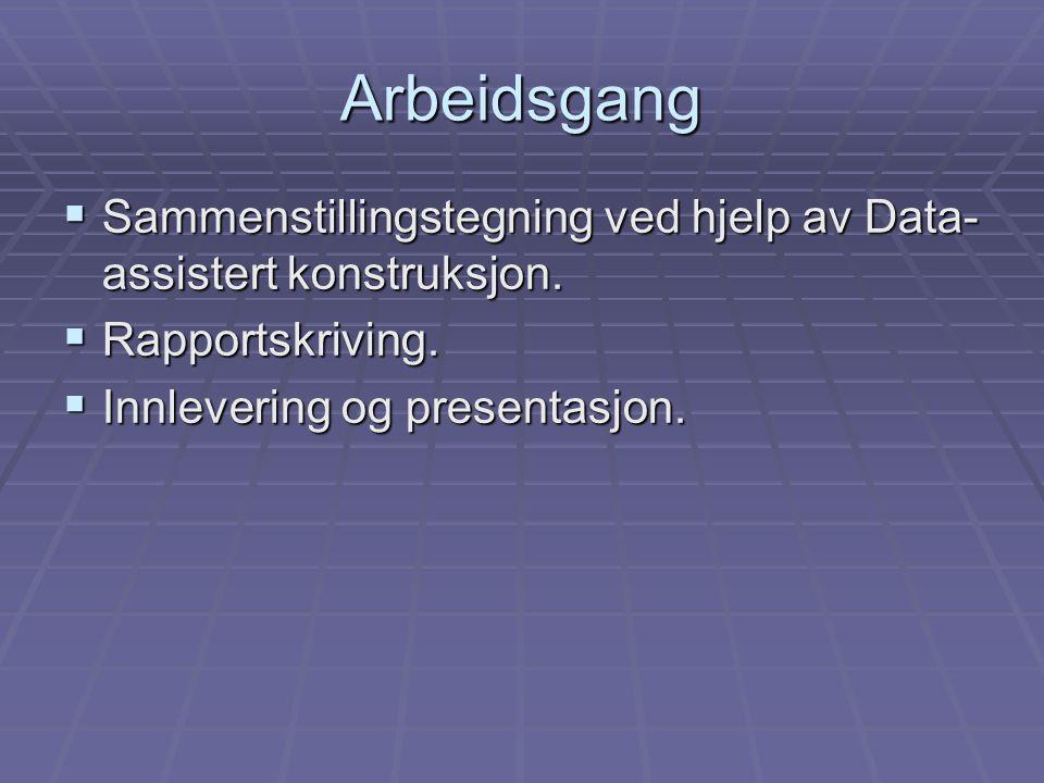 Arbeidsgang  Sammenstillingstegning ved hjelp av Data- assistert konstruksjon.  Rapportskriving.  Innlevering og presentasjon.