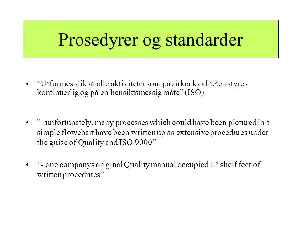 """Prosedyrer og standarder •""""Utformes slik at alle aktiviteter som påvirker kvaliteten styres kontinuerlig og på en hensiktsmessig måte"""" (ISO) •""""- unfor"""