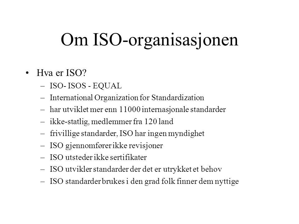 Om ISO-organisasjonen •Hva er ISO? –ISO- ISOS - EQUAL –International Organization for Standardization –har utviklet mer enn 11000 internasjonale stand