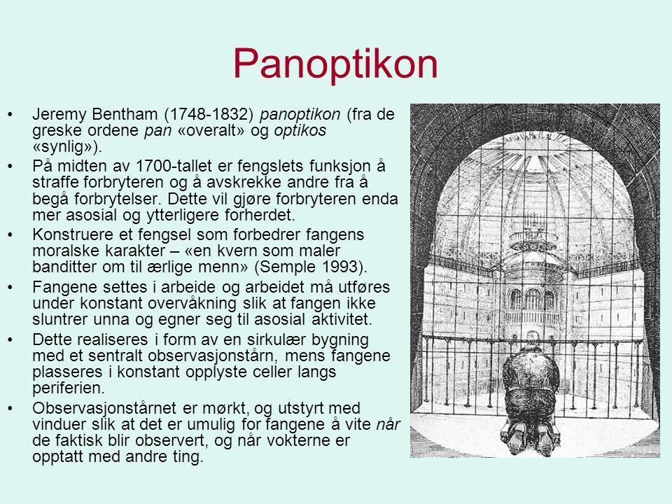 Panoptikon •Jeremy Bentham (1748-1832) panoptikon (fra de greske ordene pan «overalt» og optikos «synlig»). •På midten av 1700-tallet er fengslets fun