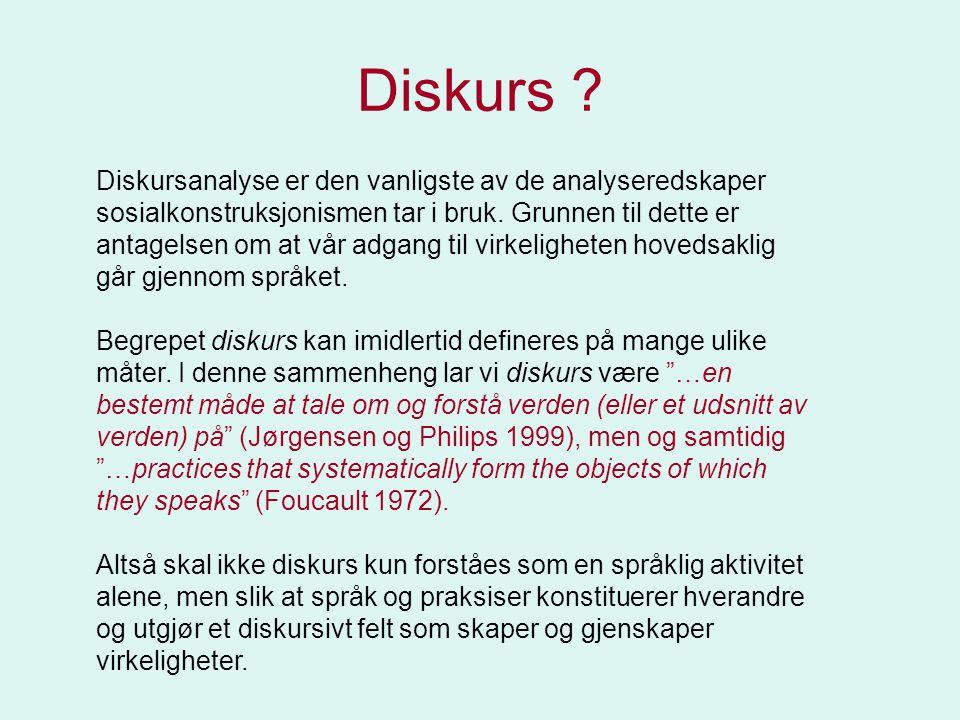 Diskursanalyse er den vanligste av de analyseredskaper sosialkonstruksjonismen tar i bruk. Grunnen til dette er antagelsen om at vår adgang til virkel