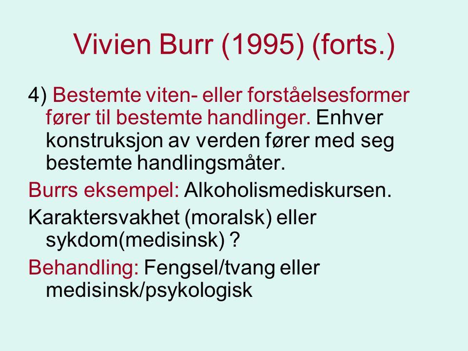Vivien Burr (1995) (forts.) 4) Bestemte viten- eller forståelsesformer fører til bestemte handlinger. Enhver konstruksjon av verden fører med seg best