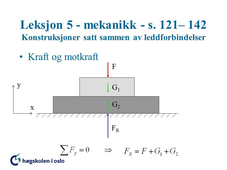 Leksjon 5 - mekanikk - s. 121– 142 Konstruksjoner satt sammen av leddforbindelser •Kraft og motkraft F G1G1 G2G2 FRFR y x 