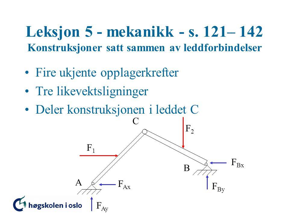 Leksjon 5 - mekanikk - s. 121– 142 Konstruksjoner satt sammen av leddforbindelser •Fire ukjente opplagerkrefter •Tre likevektsligninger •Deler konstru