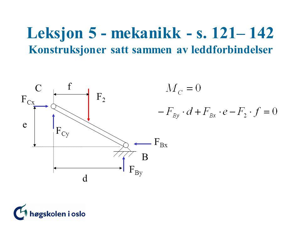 Leksjon 5 - mekanikk - s. 121– 142 Konstruksjoner satt sammen av leddforbindelser C F2F2 F Bx F By F Cx F Cy d B e f