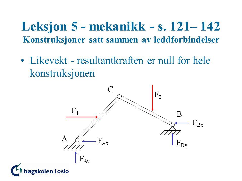 •Likevekt - resultantkraften er null for hele konstruksjonen Leksjon 5 - mekanikk - s. 121– 142 Konstruksjoner satt sammen av leddforbindelser A B C F