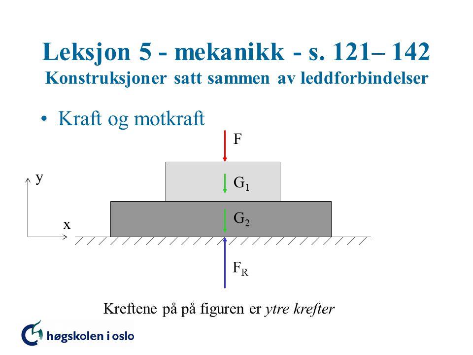 Leksjon 5 - mekanikk - s. 121– 142 Konstruksjoner satt sammen av leddforbindelser •Kraft og motkraft F G1G1 G2G2 FRFR y x Kreftene på på figuren er yt