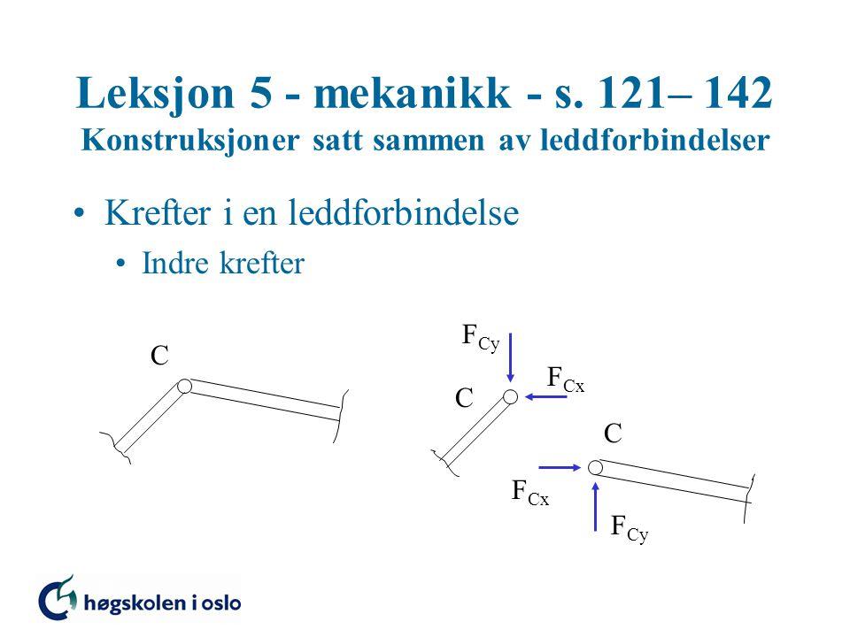 Leksjon 5 - mekanikk - s. 121– 142 Konstruksjoner satt sammen av leddforbindelser •Krefter i en leddforbindelse •Indre krefter F Cy F Cx C C C