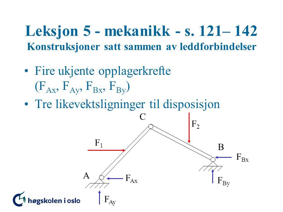 Leksjon 5 - mekanikk - s. 121– 142 Konstruksjoner satt sammen av leddforbindelser •Fire ukjente opplagerkrefte (F Ax, F Ay, F Bx, F By ) •Tre likevekt