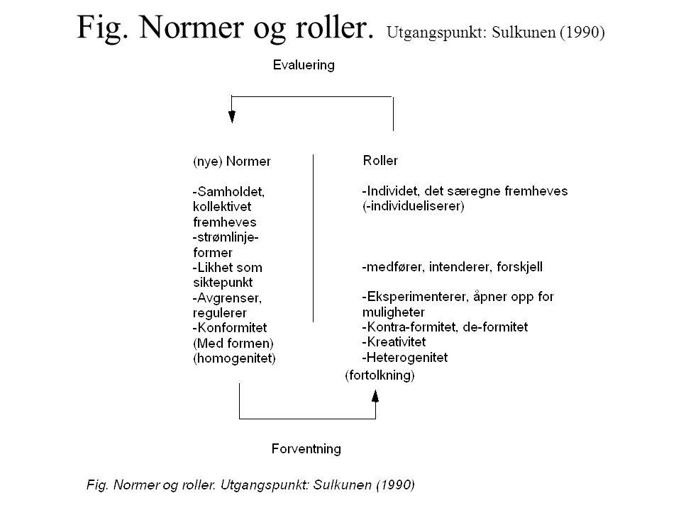 Fig. Normer og roller. Utgangspunkt: Sulkunen (1990)