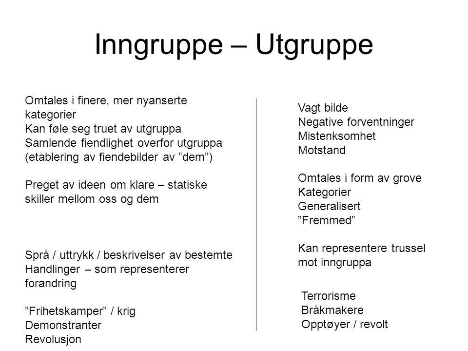 """Inngruppe – Utgruppe Vagt bilde Negative forventninger Mistenksomhet Motstand Omtales i form av grove Kategorier Generalisert """"Fremmed"""" Kan represente"""