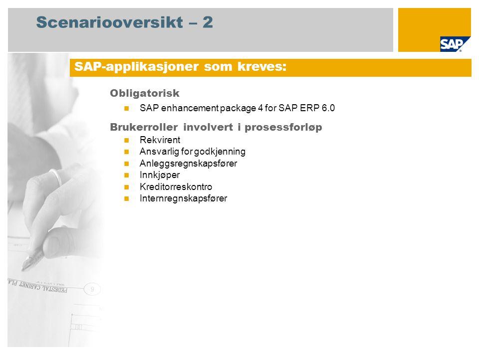 Scenariooversikt – 2 Obligatorisk  SAP enhancement package 4 for SAP ERP 6.0 Brukerroller involvert i prosessforløp  Rekvirent  Ansvarlig for godkjenning  Anleggsregnskapsfører  Innkjøper  Kreditorreskontro  Internregnskapsfører SAP-applikasjoner som kreves: