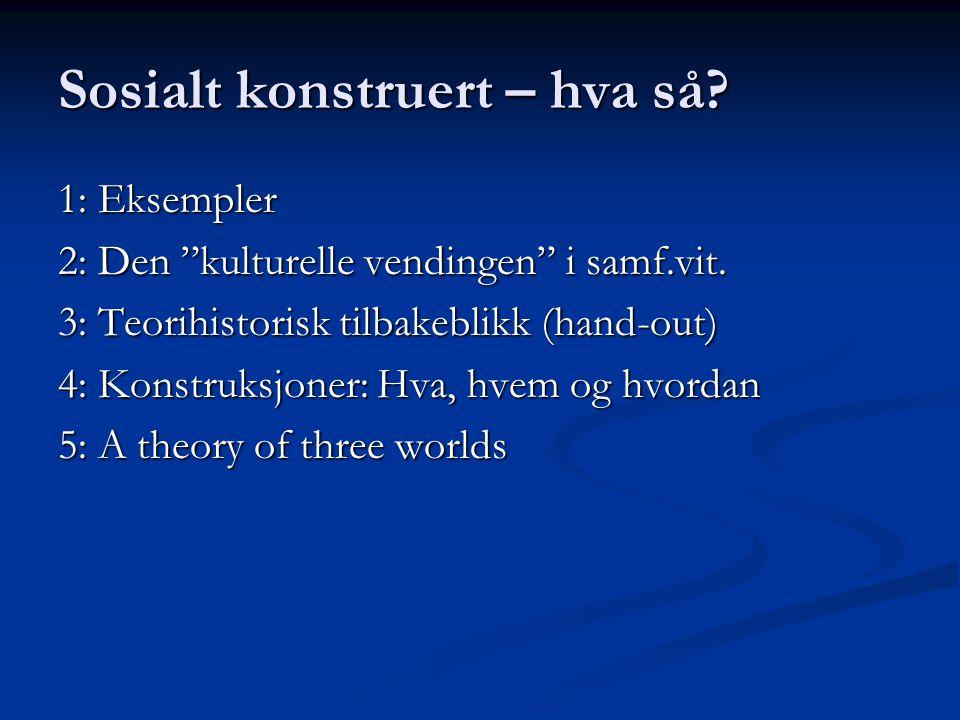 """Sosialt konstruert – hva så? 1: Eksempler 2: Den """"kulturelle vendingen"""" i samf.vit. 3: Teorihistorisk tilbakeblikk (hand-out) 4: Konstruksjoner: Hva,"""
