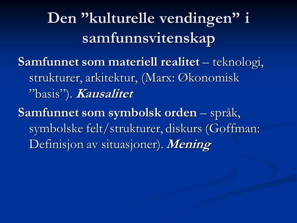 """Den """"kulturelle vendingen"""" i samfunnsvitenskap Samfunnet som materiell realitet – teknologi, strukturer, arkitektur, (Marx: Økonomisk """"basis""""). Kausal"""