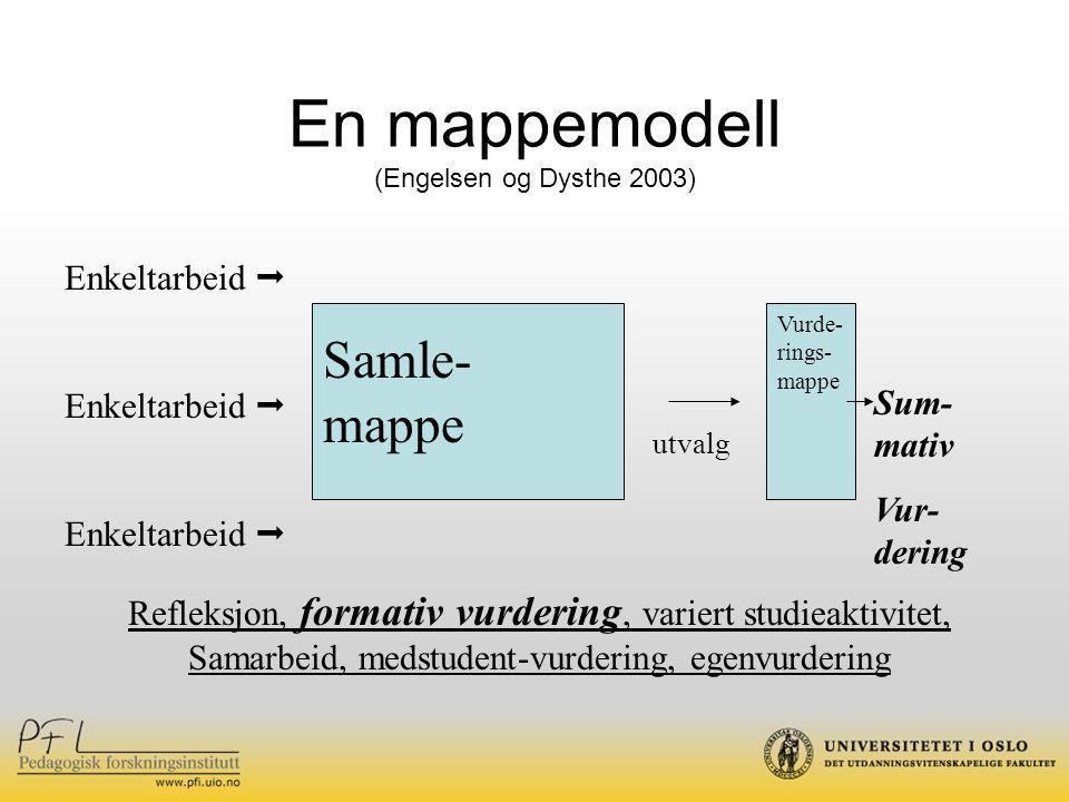 En mappemodell (Engelsen og Dysthe 2003) Enkeltarbeid  Samle- mappe Sum- mativ Vur- dering Refleksjon, formativ vurdering, variert studieaktivitet, Samarbeid, medstudent-vurdering, egenvurdering utvalg Vurde- rings- mappe