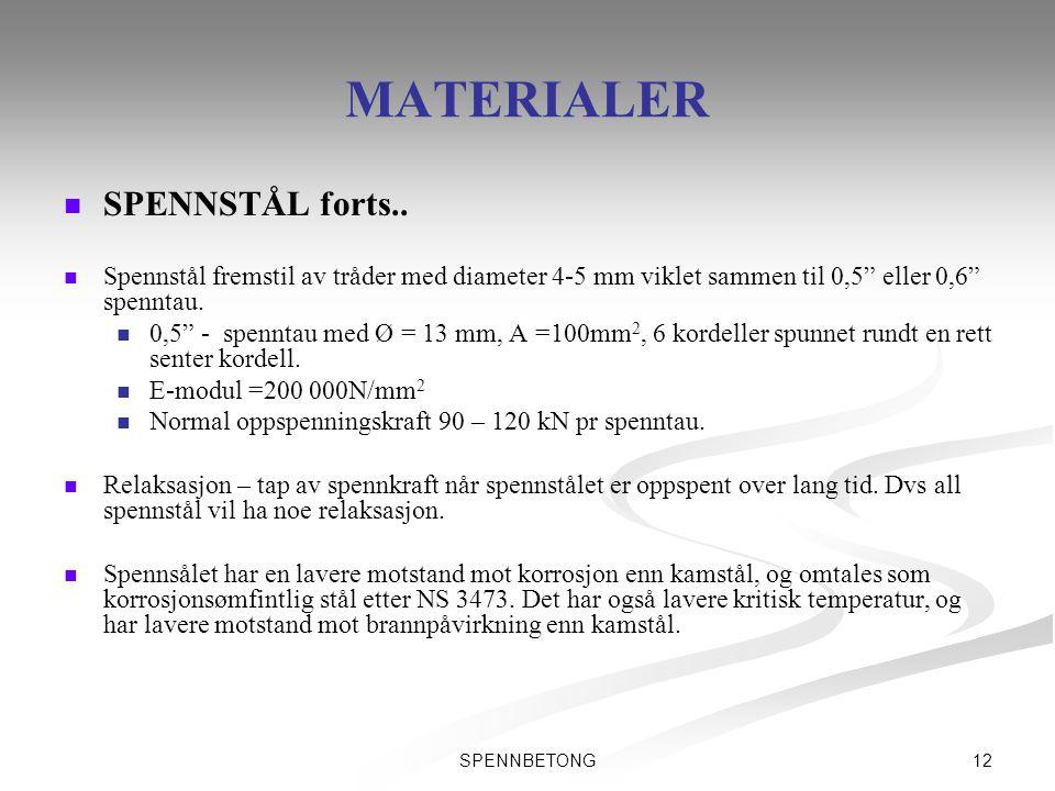 """12SPENNBETONG MATERIALER   SPENNSTÅL forts..   Spennstål fremstil av tråder med diameter 4-5 mm viklet sammen til 0,5"""" eller 0,6"""" spenntau.   0,"""