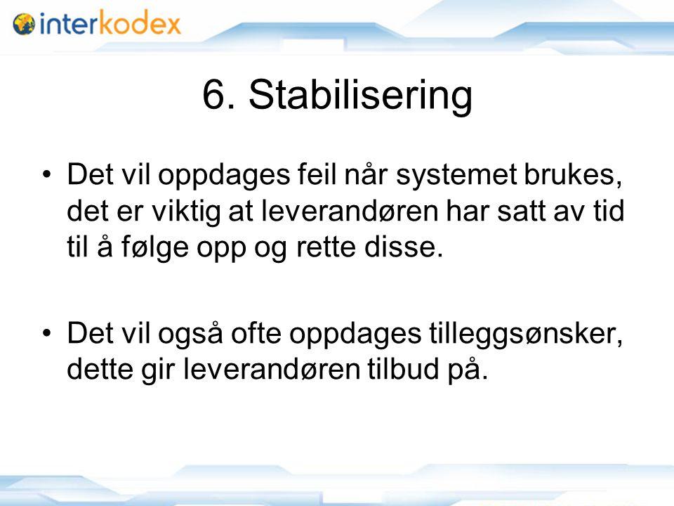 15 6. Stabilisering •Det vil oppdages feil når systemet brukes, det er viktig at leverandøren har satt av tid til å følge opp og rette disse. •Det vil