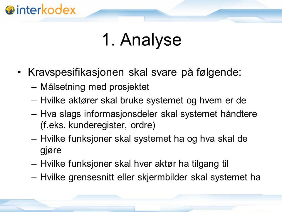 6 1. Analyse •Kravspesifikasjonen skal svare på følgende: –Målsetning med prosjektet –Hvilke aktører skal bruke systemet og hvem er de –Hva slags info