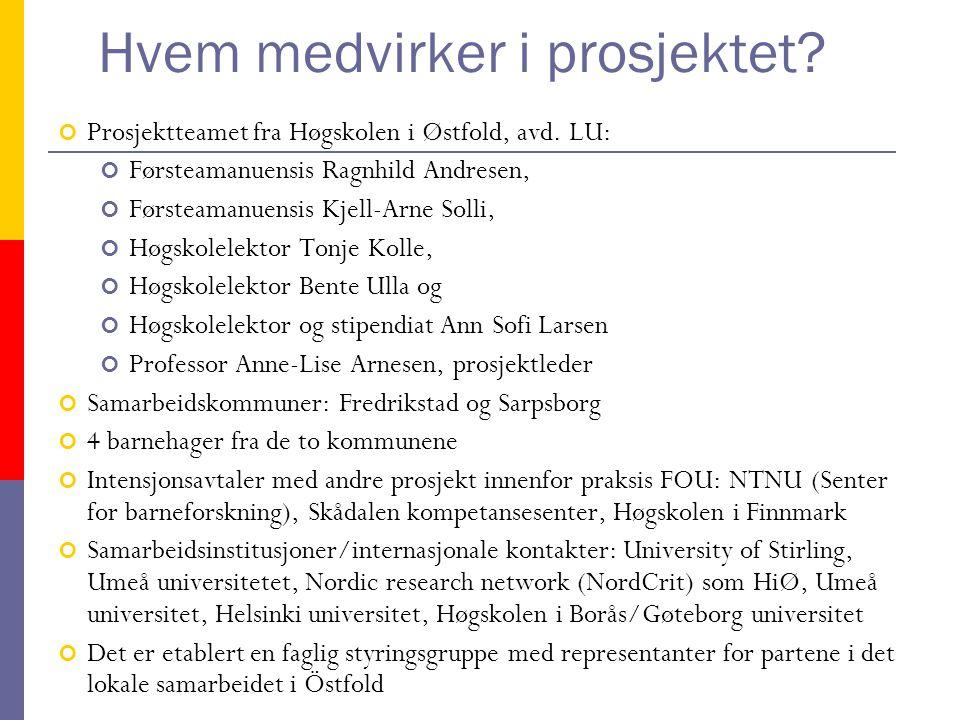 Hvem medvirker i prosjektet. Prosjektteamet fra Høgskolen i Østfold, avd.