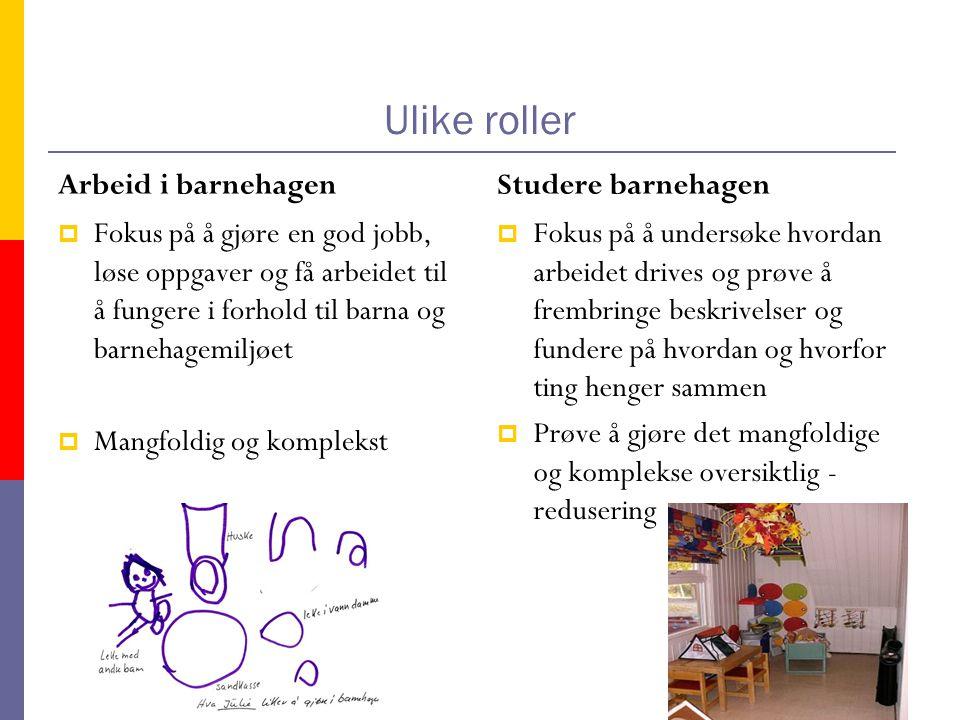 Ulike roller Arbeid i barnehagen  Fokus på å gjøre en god jobb, løse oppgaver og få arbeidet til å fungere i forhold til barna og barnehagemiljøet  Mangfoldig og komplekst Studere barnehagen  Fokus på å undersøke hvordan arbeidet drives og prøve å frembringe beskrivelser og fundere på hvordan og hvorfor ting henger sammen  Prøve å gjøre det mangfoldige og komplekse oversiktlig - redusering