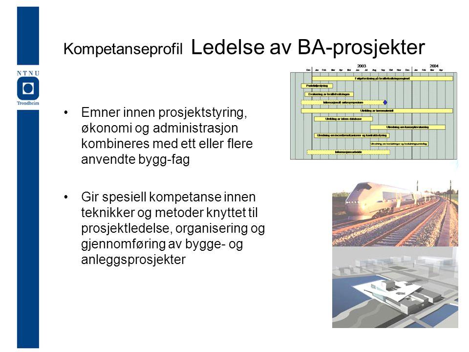 Kompetanseprofil Ledelse av BA-prosjekter •Emner innen prosjektstyring, økonomi og administrasjon kombineres med ett eller flere anvendte bygg-fag •Gir spesiell kompetanse innen teknikker og metoder knyttet til prosjektledelse, organisering og gjennomføring av bygge- og anleggsprosjekter