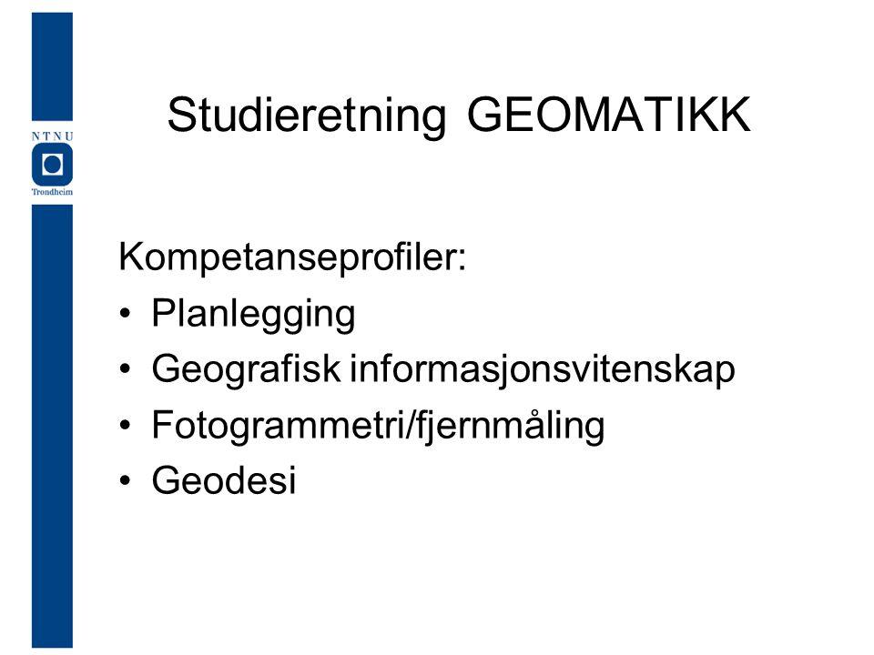 Kompetanseprofiler: •Planlegging •Geografisk informasjonsvitenskap •Fotogrammetri/fjernmåling •Geodesi