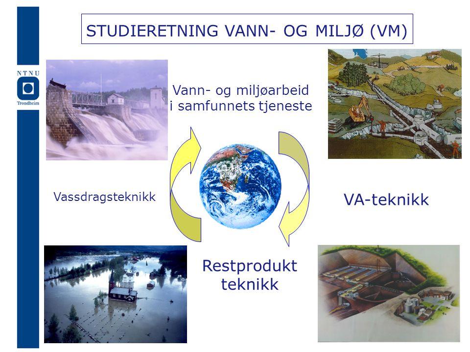 STUDIERETNING VANN- OG MILJØ (VM) Vassdragsteknikk VA-teknikk Restprodukt teknikk Vannkraft Hydrologi VA-systemer Vannrensing Vann- og miljøarbeid i samfunnets tjeneste wwwbygg.ntnu.no/ivb/