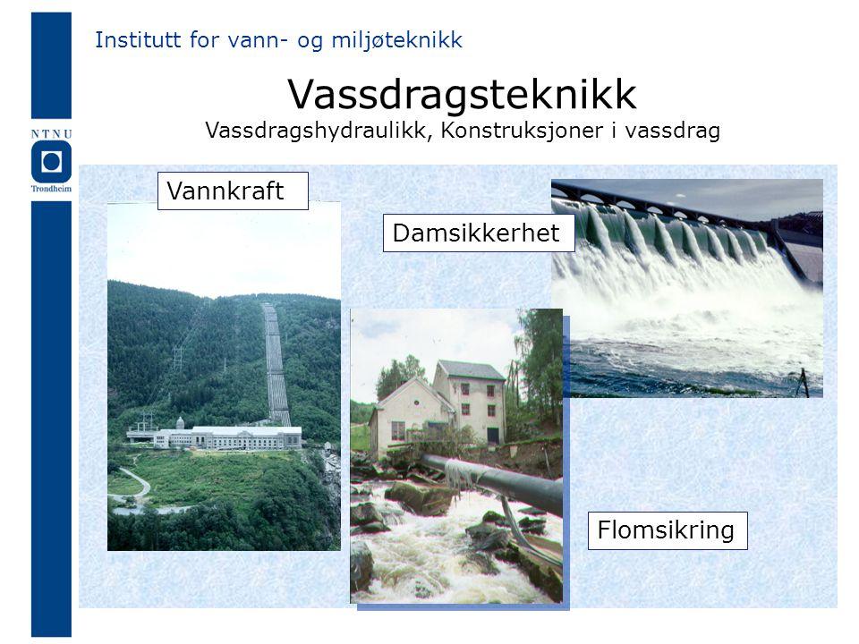 Vassdragsteknikk Vassdragshydraulikk, Konstruksjoner i vassdrag Vannkraft Damsikkerhet Institutt for vann- og miljøteknikk Flomsikring