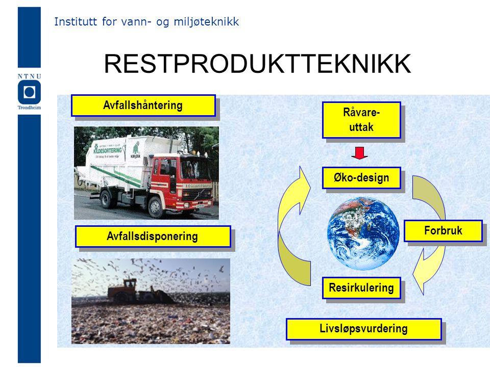 RESTPRODUKTTEKNIKK Øko-design Resirkulering Råvare- uttak Forbruk Institutt for vann- og miljøteknikk Avfallshåntering Avfallsdisponering Livsløpsvurdering