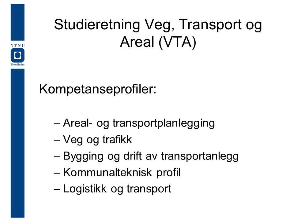 Studieretning Veg, Transport og Areal (VTA) Kompetanseprofiler: –Areal- og transportplanlegging –Veg og trafikk –Bygging og drift av transportanlegg –Kommunalteknisk profil –Logistikk og transport