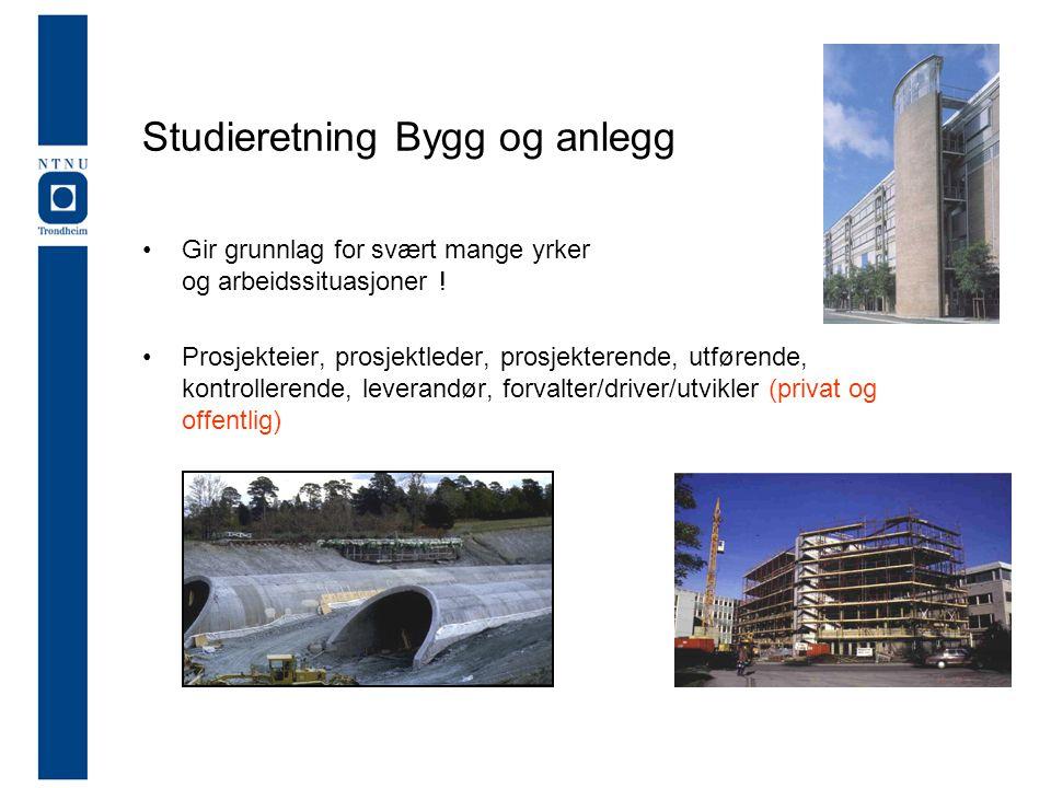 Studieretning Bygg og anlegg •Gir grunnlag for svært mange yrker og arbeidssituasjoner .