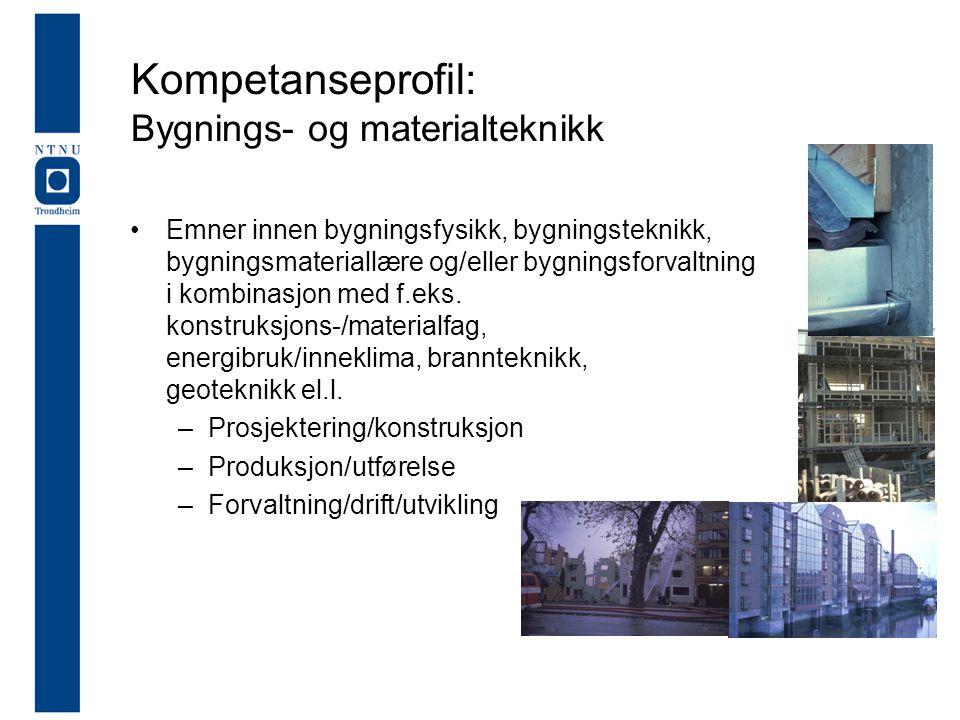Kompetanseprofil: Bygnings- og materialteknikk •Emner innen bygningsfysikk, bygningsteknikk, bygningsmateriallære og/eller bygningsforvaltning i kombinasjon med f.eks.