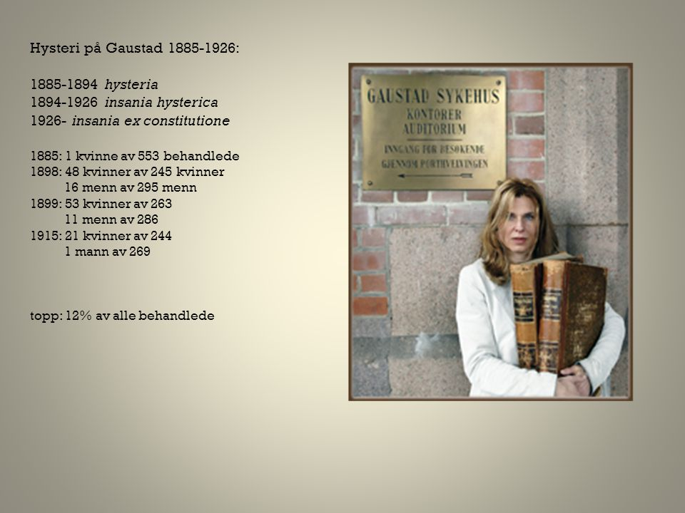 Hysteri på Gaustad 1885-1926: 1885-1894 hysteria 1894-1926 insania hysterica 1926- insania ex constitutione 1885: 1 kvinne av 553 behandlede 1898: 48