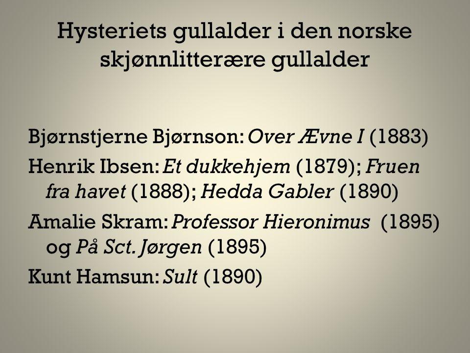 Hysteriets gullalder i den norske skjønnlitterære gullalder Bjørnstjerne Bjørnson: Over Ævne I (1883) Henrik Ibsen: Et dukkehjem (1879); Fruen fra hav
