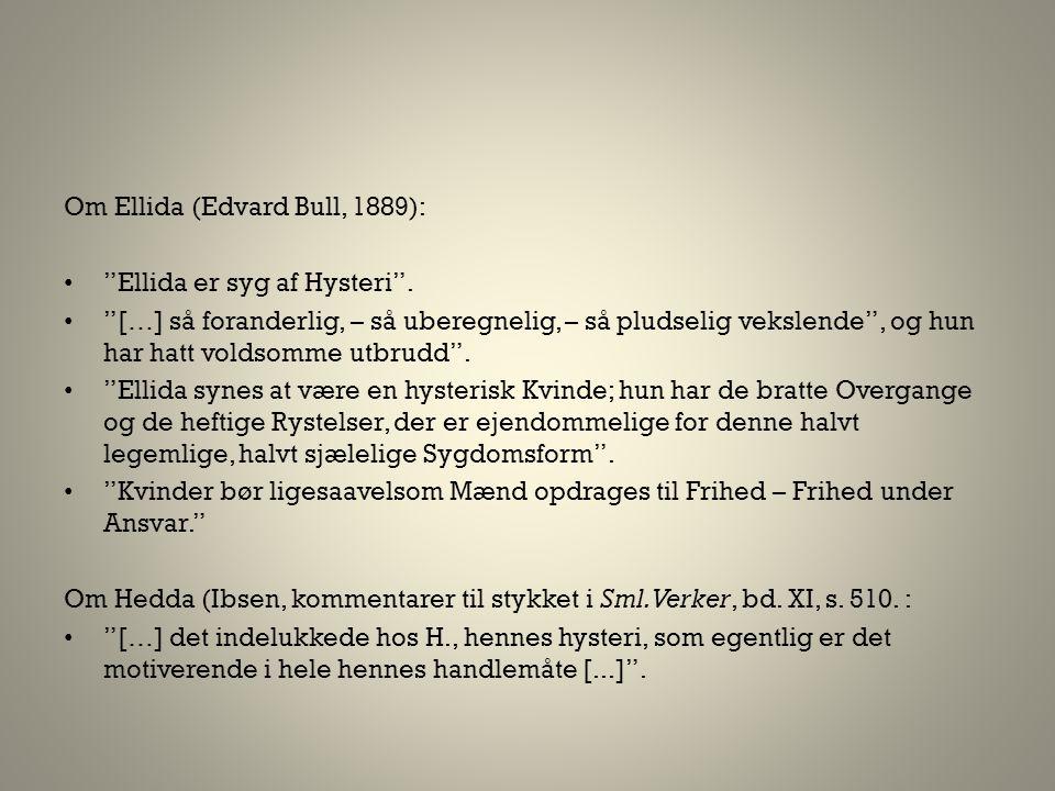 "Om Ellida (Edvard Bull, 1889): • ""Ellida er syg af Hysteri"". • ""[…] så foranderlig, – så uberegnelig, – så pludselig vekslende"", og hun har hatt volds"