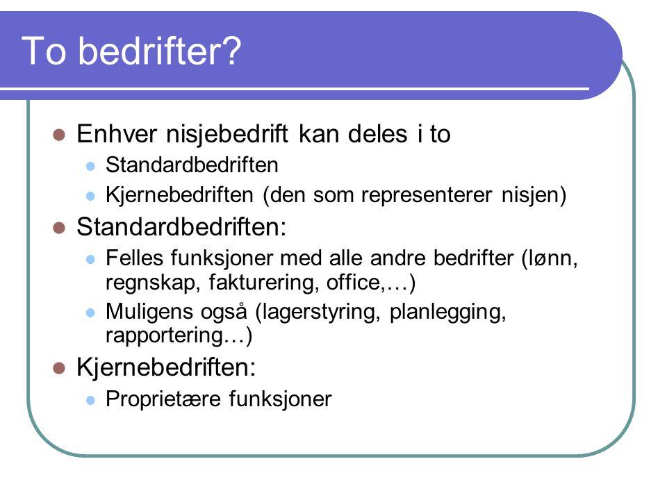 To bedrifter?  Enhver nisjebedrift kan deles i to  Standardbedriften  Kjernebedriften (den som representerer nisjen)  Standardbedriften:  Felles