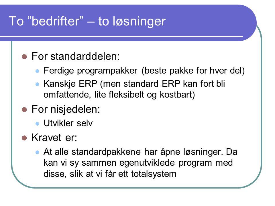 """To """"bedrifter"""" – to løsninger  For standarddelen:  Ferdige programpakker (beste pakke for hver del)  Kanskje ERP (men standard ERP kan fort bli omf"""
