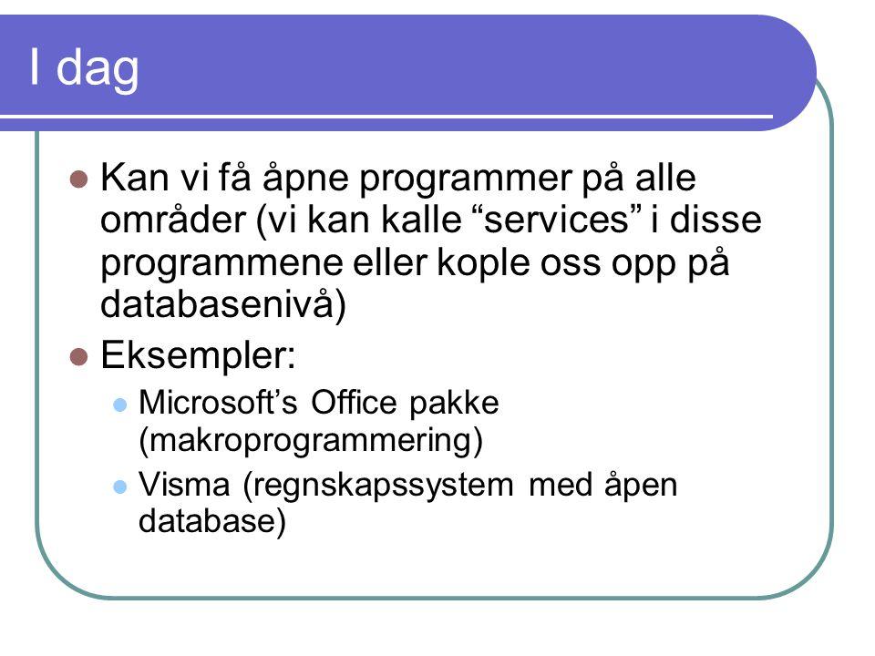 """I dag  Kan vi få åpne programmer på alle områder (vi kan kalle """"services"""" i disse programmene eller kople oss opp på databasenivå)  Eksempler:  Mic"""