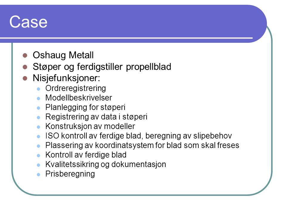Case  Oshaug Metall  Støper og ferdigstiller propellblad  Nisjefunksjoner:  Ordreregistrering  Modellbeskrivelser  Planlegging for støperi  Reg