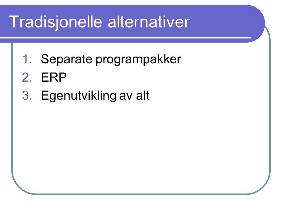 Tradisjonelle alternativer 1.Separate programpakker 2.ERP 3.Egenutvikling av alt