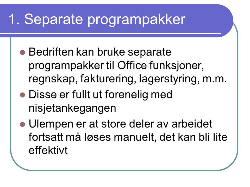 1. Separate programpakker  Bedriften kan bruke separate programpakker til Office funksjoner, regnskap, fakturering, lagerstyring, m.m.  Disse er ful