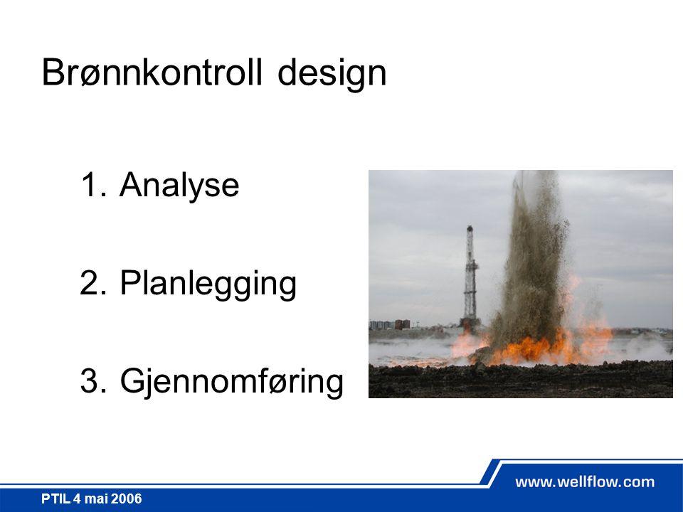 PTIL 4 mai 2006 Brønnkontroll design 1.Analyse 2.Planlegging 3.Gjennomføring