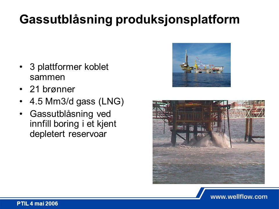 PTIL 4 mai 2006 Gassutblåsning produksjonsplatform •3 plattformer koblet sammen •21 brønner •4.5 Mm3/d gass (LNG) •Gassutblåsning ved innfill boring i