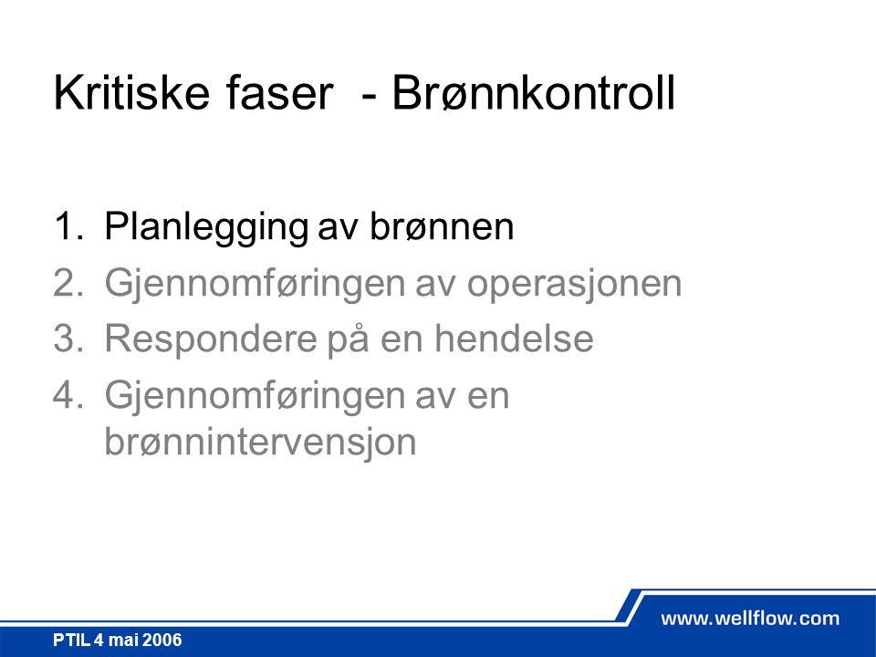 PTIL 4 mai 2006 Kritiske faser - Brønnkontroll 1.Planlegging av brønnen 2.Gjennomføringen av operasjonen 3.Respondere på en hendelse 4.Gjennomføringen